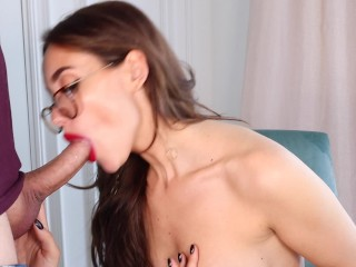 Best Blowjob Ever. Babe With Red Lipstick Sucks Cock After Cunnilingus.