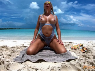 Beach Bunny PoundPie3 Destroyed & Drenched In Cum On A Beach!