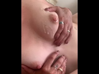 iPhone sex tape- Petite blonde girlfriend doggystyle, cumshot on perky tits