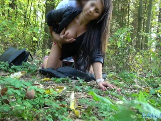 Public Agent Tight busty minx Czech pussy fucked doggystyle in forest