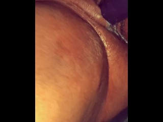My girlfriend fucking me with our double dildo til I cum and cream