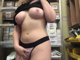 YOUNG HORNY TEEN TEASES AT WORK!