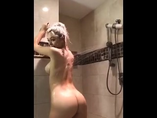 Strip tease soapy pussy and tits
