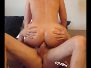 Amateur anal, working out in cowgirl