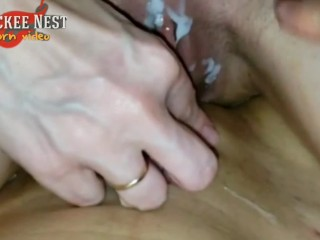 Rubbing our pussies with my boyfriend' sperm as lube