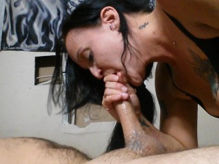 I suck his dick until he cums in my mouth and throat