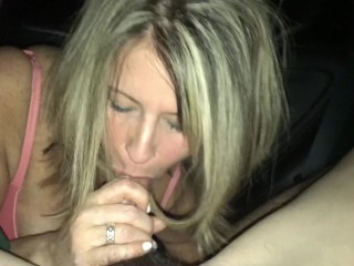 Blowing young stud in the back of my car until he cums