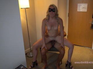 Young amateur blonde milks older daddy with her mouth and pussy