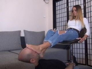 2 Cute Young Girls Dominate The Slave (Foot Worship, Trampling, Slapping)