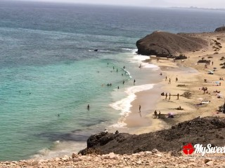 Public Sex on a Nudist Beach – Amateur Couple MySweetApple in Lanzarote