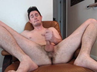 Naked & spread stud blasts massive cumshot