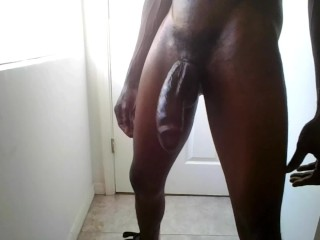 Training my big black dick to jump high…4 cumshots!
