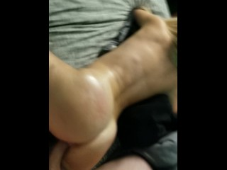 Oiled up pawg reverse cowgirl pov