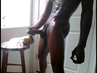 Jacking my big thick black dick and fucking my fleshlight!