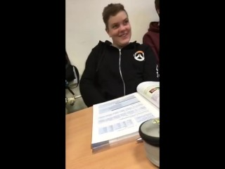 Student jerks off in front of a teacher who shakes her ass at the blackboar