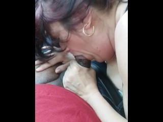 Milf sucks me off and slurps cum at the end. Wow! What a true cum slut.