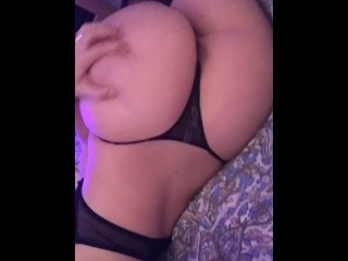 Little Lamb plays with her fat ass