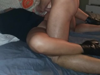 Horny tinder milf pulls up her skirt after coming home from party